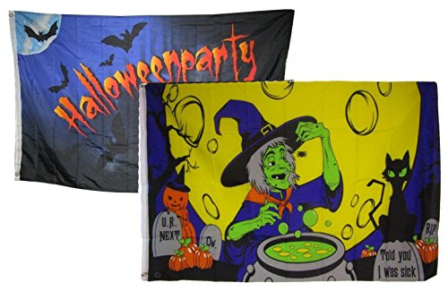 ALBATROS 3 ft x 5 ft Happy Halloween 2 Pack Flag Set Combo #21 Banner Grommets for Home and Parades, Official Party, All Weather Indoors Outdoors]()