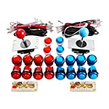 Qenker 2-Player LED Arcade DIY Kit for USB MAME PC Game DIY & Raspberry Pi Retro Controller DIY Including 2X Arcade Joystick, 20x LED Arcade Buttons, 2X Zero Delay USB Encoder