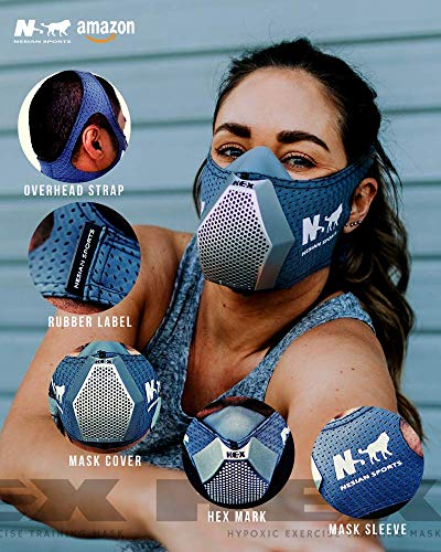 NS NESIAN SPORTS - HEX Training MASK - Altitude Breathing Simulation Device for high Performance Sport and Fitness Workouts (Silver)