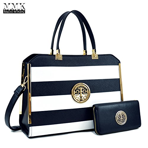 MMK collection Women Fashion Matching Satchel handbags with wallet(6900)~Designer Purse ~Multi Pocket ~ Beautiful Designer Handbag Set (02-6900 (02-168)BK/WT/BK)