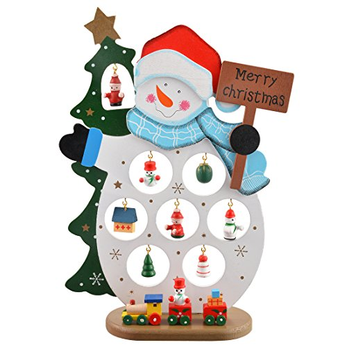 MJartoria Merry Christmas Snowman Tabletop Decorations with Ornaments Jewelry Tree Tower Large Size (Santa1)