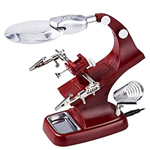Hared LED Magnifying Soldering Iron Jewelry Stand Lens Red Magnifier Helping Hand Clip