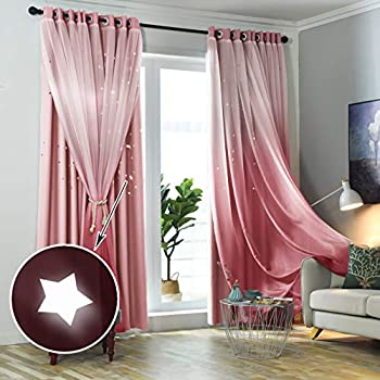 Hughapy Star Curtains Stars Blackout Curtains for Kids Girls Bedroom Living Room Double Layer Star Cut Out Sparkle Blackout Gradient Window Curtains, 1 Panel -(52W x 84L, Pink)
