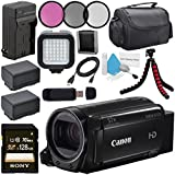 Canon 16GB VIXIA HF R70 Full HD Camcorder 1237C001 + BP-727 High Capacity Battery + External Rapid Charger + Sony 128GB SDXC Card + Compact Camcorder Case + Flexible Tripod + LED Light Bundle