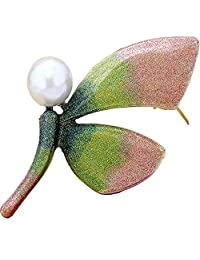 V-Liliana Women's Fashion Multi-Color Pearl Gemstone Dragonfly Brooch Pins