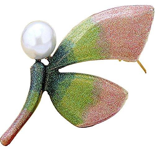 Noble Dragonfly & Maple Leaf Simulated Pearl Gemstone Brooch Pins Corsages Scarf Clips Unisex Women&Men