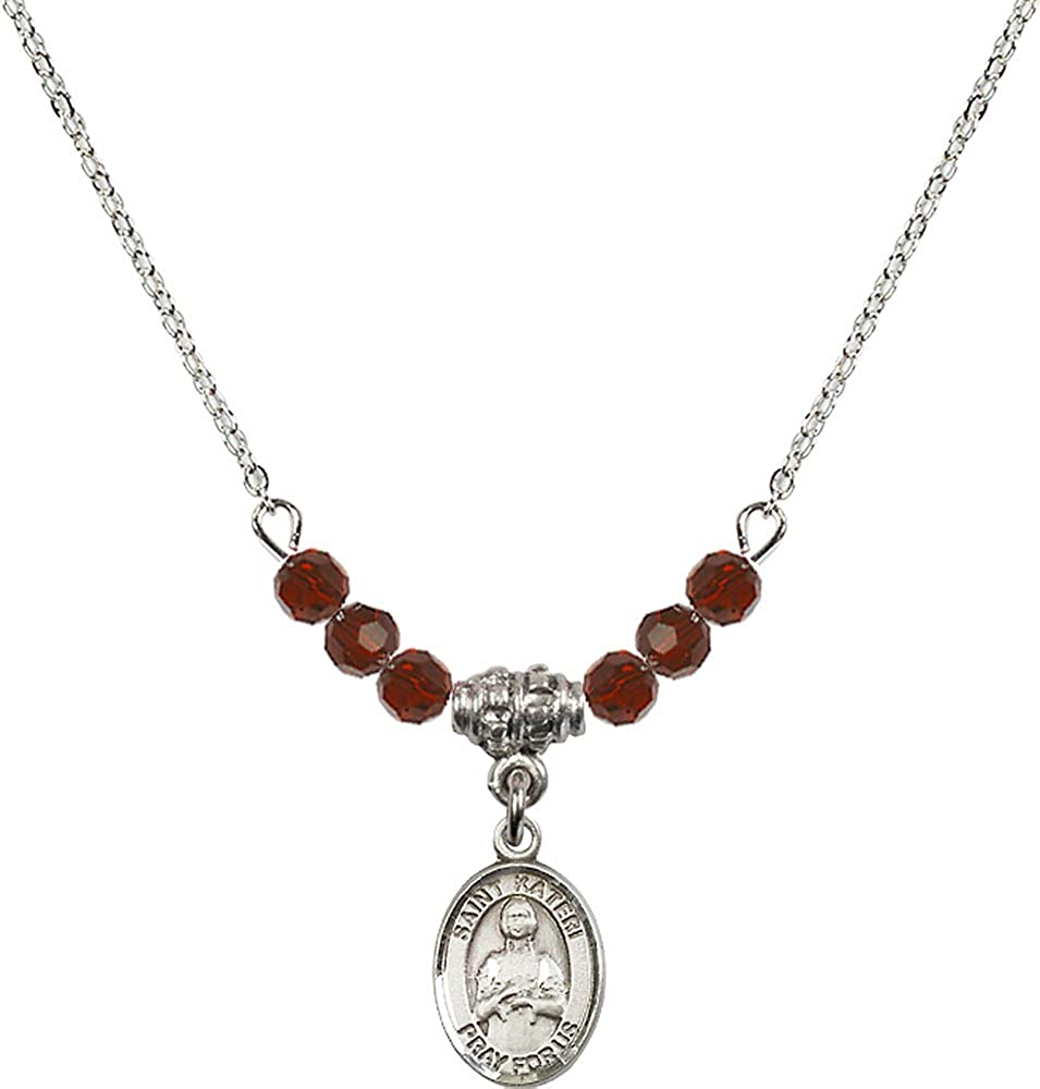 18-Inch Rhodium Plated Necklace with 4mm Garnet Birthstone Beads and Sterling Silver Saint Kateri Tekakwitha Charm.