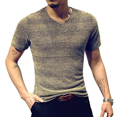 LOGEEYAR Mens Classic Fitted Mesh Short-Sleeve V-Neck T-Shirt (Medium, Khaki)
