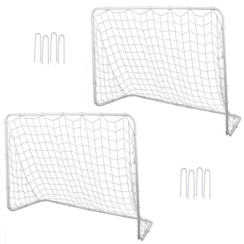 F2C Football Post Soccer Goal Target Net 6' x 4' Football Shooting Training Aid Ultimate Backyard Outdoor Kids Official Soccer Goal, Steel Frame (Pack of 2-6' x 4' White) (Best Football Team Goals)
