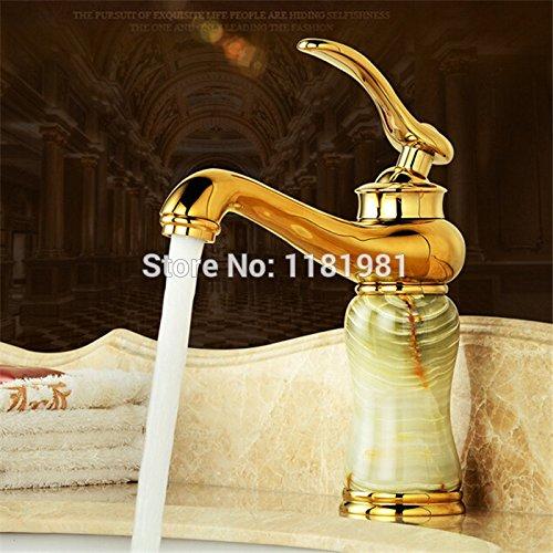 U-Enjoy Edle Golden Jade Top-Qualität Bibcock Marmor-Hahn-Haus Badezimmer Küche Garten [Kostenloser Versand]