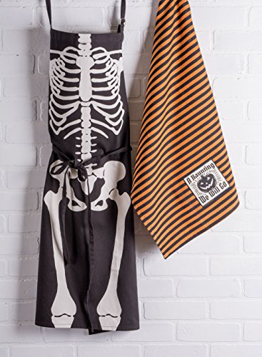 DII Cotton Halloween Holiday Kitchen Apron with Extra Long Ties, 35 x 28, Men and Women Apron for Cooking, Baking, Crafting, Gardening, BBQ-Skeleton