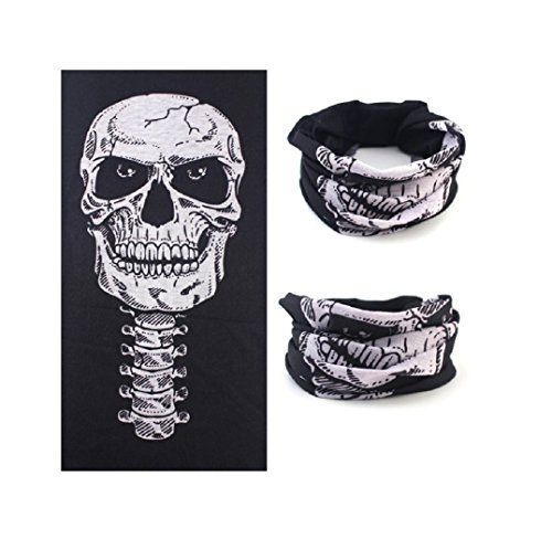 Halloween Skull Skeleton Mask Outdoor Motorcycle Bicycle Multi Function Scarf Half Face Masks Cap Neck Ghost Scarf