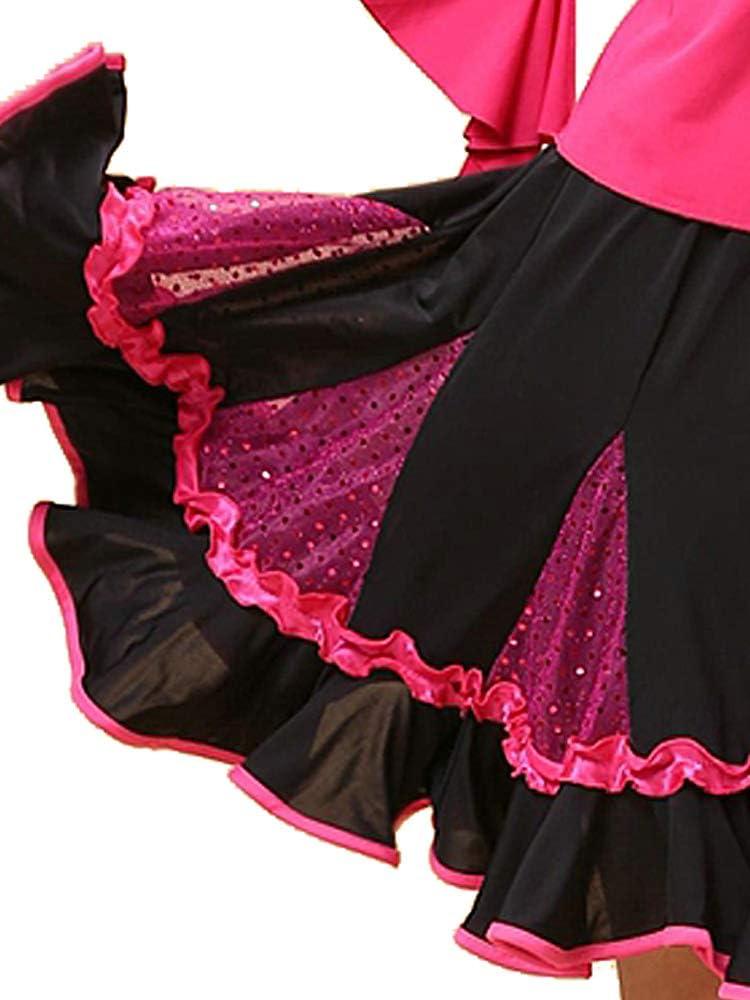 Grouptap Jupe de Danse de Curling Latin Vert Porter pour la Salle de Bal des Femmes Tango cha cha Salsa Samba Rumba Danse Spectacle Spectacle Robe
