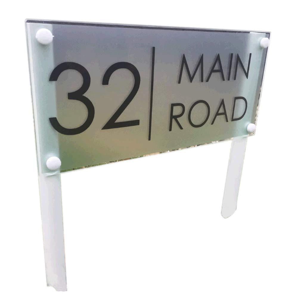 De-sign a plaque Libera insDimensionezione Modern House Sign porta numero targhetta paletto Lawn Sign in vetro acrilico argento 'grande'