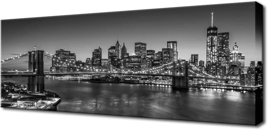Biuteawal - Black and White Brooklyn Bridge Canvas Wall Art New York City Picture Print Manhattan Night Skyline Painting on Canvas Modern Home Office Wall Decoration Ready to Hang