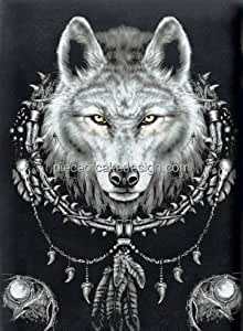 """Amazon.com : 6"""" Round ~ Wolf Dream Catcher Background"""