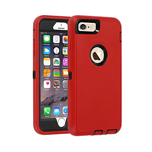 iPhone 6/6s Case,[Heavy Duty] Armor 3 in 1 Built-in Screen Protector Rugged Cover Dust-Proof Shockproof Drop-Proof Scratch-Resistant Tough Shell Case for Apple iPhone 6/6s 4.7 inch (Red)