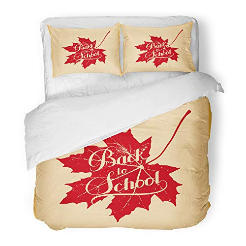 Emvency Decor Duvet Cover Set Full/Queen Size Education of Back to School Retro Label Maple Leaf Lettering Composition 3 Piece Brushed Microfiber Fabric Print Bedding Set Cover