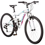 Mongoose 26'' Ledge 2.1 Women's Aluminum full suspension frame Mountain Bike White/Purple NEW