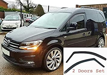 type 2K 2003 2004 2005 2006 2007 2008 2009 2010 2011 2012 2013 2014 2015 Acrylic Glass Side Visors Set Of 2 Wind Deflectors IN-CHANNEL Type Compatible with VOLKSWAGEN CADDY VW window deflectors