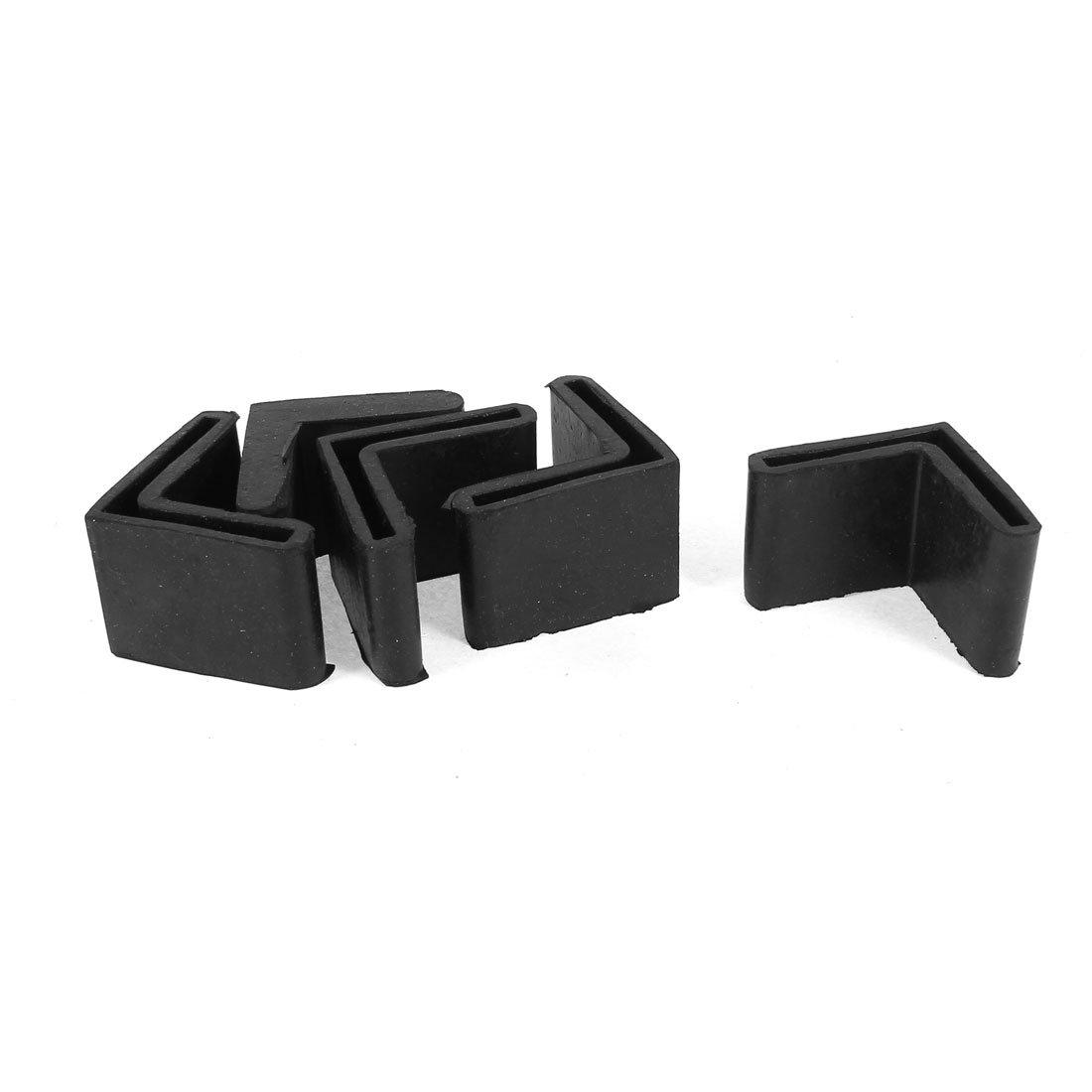 sourcingmap 4 st ck schwarzen gummil geformte m bel. Black Bedroom Furniture Sets. Home Design Ideas