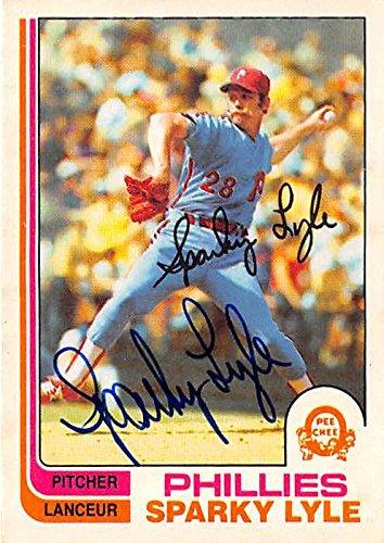 Sparky Lyle autographed baseball card (Philadelphia Phillies) 1982 O-Pee-Chee #285