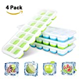YangSuo 【Easy Release Ice Cube Tray 4 Pack】, Easy-Release Flexible Silicone 14-Ice Trays with Spill-Resistant Removable Lid, LFGB Certified and Food-Safe Material, Stackable Durable and Dishwasher Safe