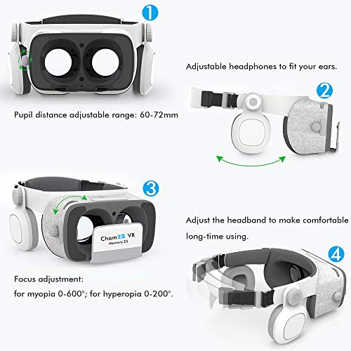 397312ff3ba Phone VR Headset with Headphones Eye Protected Movies   Games Virtual  Headset Reality Glasses for Myopia   Hyperopia 120° FOV Lightweight VR Mask  for iOS ...