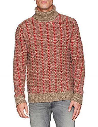 Colors Neck Jacquard Sweater Benetton red United Para Suéter gray beige Of Turtle Beige Hombre Tdwdfq