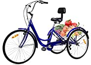 ExGizmo 3 Wheel Bikes Adult Tricycles 7 Speed Adult Trikes Three-Wheeled Cruiser Bicycles with Cart 3 Wheel Bi