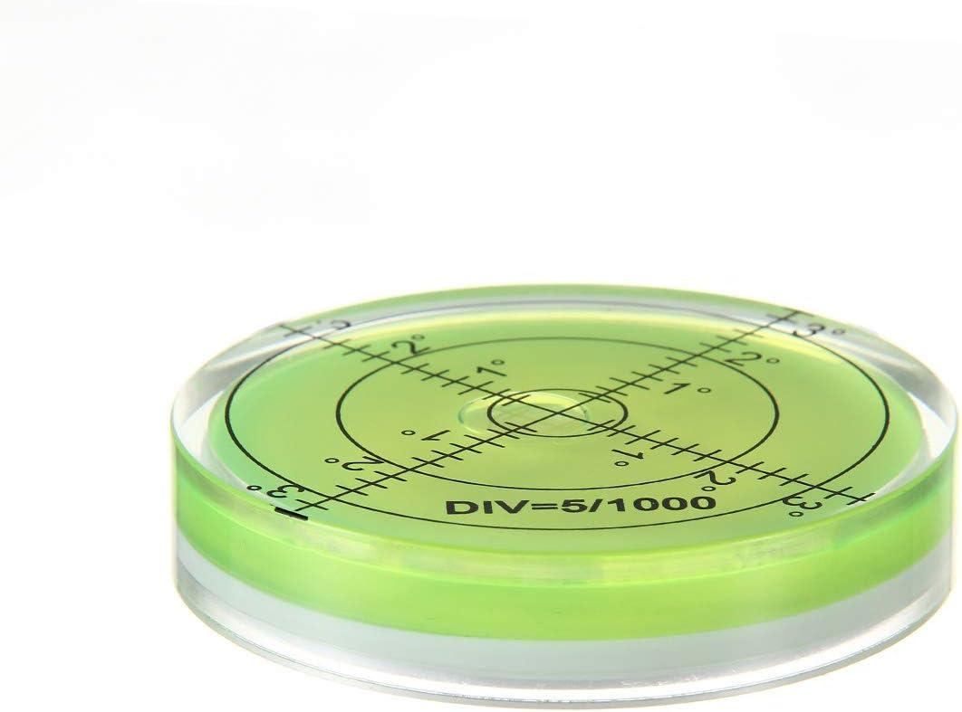 1 unidad de nivel de burbuja circular 60 x 12 mm verde Herramienta de medici/ón de nivel circular de nivel de burbuja para c/ámara de tr/ípode instrumentos de medici/ón de muebles