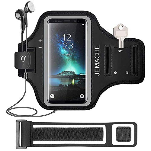 Galaxy Note 8/9/10+ Armband, JEMACHE Gym Run Workout/Exercise Phone Holder Arm Band for Samsung Galaxy Note 8/9/10 Plus Fits Otterbox Defender, Lifeproof Case (Black)