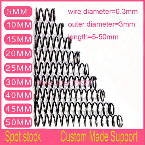 Calvas 50pcs 0.335-50mm Carbon Steel Small spot Spring 0.3mm Wire Micro Spring Compression Spring Pressure Spring OD=3mm - (Length: 15mm)