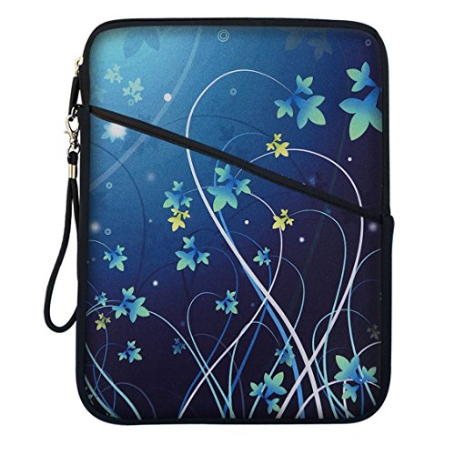 Meffort Inc Super Padded Bubble Sleeve Cover Case w. Accessory Pocket for 9 to 10.2 Inch Tablets - Blue Swirl