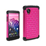 Rhinestone Bling Diamond Hybrid Impact Shock Proof Shell Cover Case For LG Nexus 5 - Hot Pink