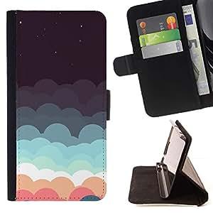 For Motorola Moto E ( 1st Generation ) Case , Nubes Sueño Estrellas trullo Rosa Cielo Nocturno- la tarjeta de Crédito Slots PU Funda de cuero Monedero caso cubierta de piel