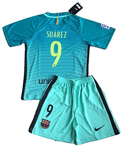 Luis Suarez #9 FC Barcelona 2016-2017 Champions League 3rd Jersey with Shorts for Kids