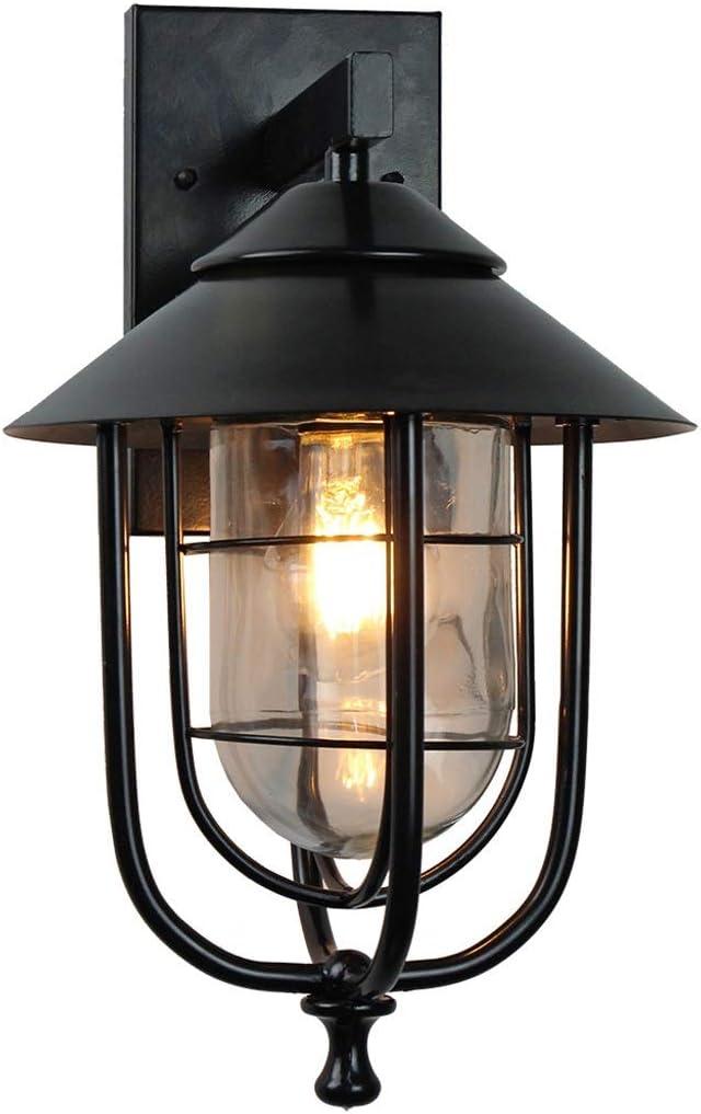 WATERMELON Lámpara de Pared for Exteriores Retro Forma de Jaula de pájaros Cubierta de lámpara Gruesa de Doble Capa Lámpara de Hierro Forjado al revés Apliques