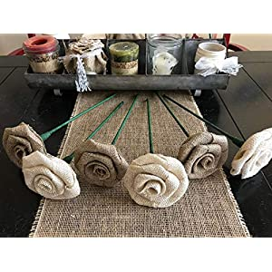 Set of Six Burlap Long Stem Roses in Natural and Ivory Wedding Centerpiece Bouquet Rustic Baby Shower 13