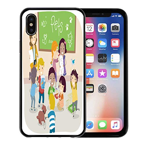 Semtomn Phone Case for Apple iPhone Xs case,Kindergarten of Stickman Kids Their Pets in Classroom School Preschool for iPhone X Case,Rubber Border Protective Case,Black]()