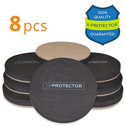 Felt Sliders X-PROTECTOR (8-Pieces) 4 3/4 inch Wood Furniture Sliders - Heavy Duty Sliders - Reusable Hardwood Floor Sliders - Felt Furniture Sliders HARD SURFACES - Move Your Furniture EASY & SAFELY!