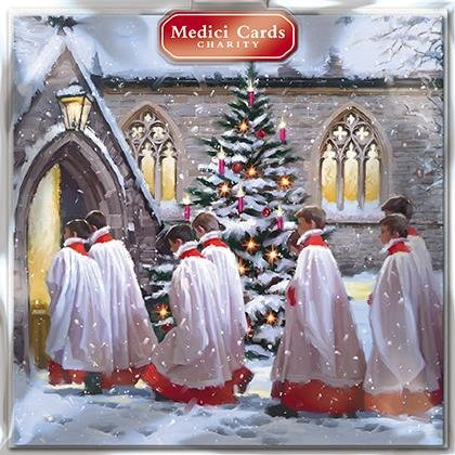 Charity Christmas Cards (MED6434) - Choir Boys - Going into Church - Pack of 8 Cards - Sold in Aid of Oxfam, RNLI, Marie Curie, Parkinson's UK, Alzheimers Society and Diabetes UK Parkinson's UK