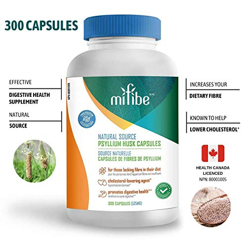 mifibe Psyllium Fiber Capsules - 525 mg each capsule - 300 capsules -  Excellent source of fibre made from naturally sourced Plantago ovata -  helps