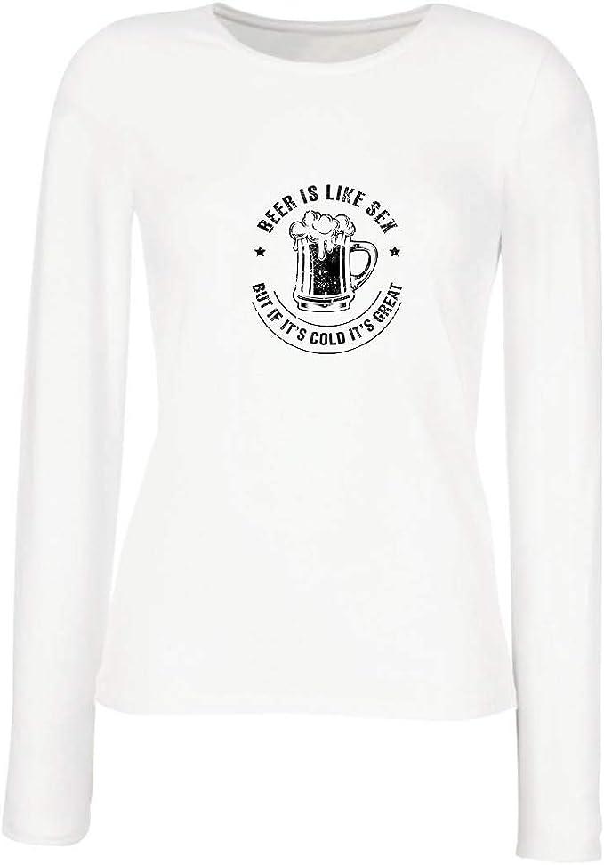 lepni.me Camisetas de Manga Larga para Mujer La Cerveza es como el Sexo, Pero si Hace frío, es Genial: Amazon.es: Ropa y accesorios