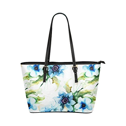 InterestPrint Fashion Summer Blue Flowers Watercolor Leather Casual Tote Handbag Daily Bag for Women
