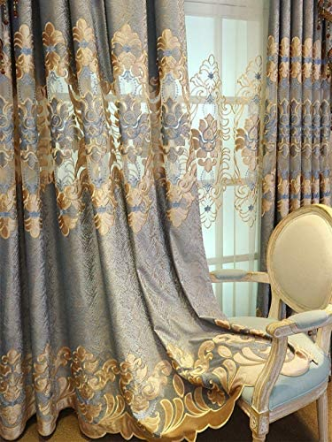 pureaqu European Style Semi Blackout Curtain Panel 84 Inches Long Living Room Grommet Top Luxury Floral Embroidered Curtains and Drape