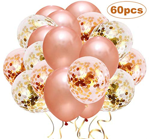 Upgraded Rose Gold Balloons + Confetti Balloons, 60 PCS Rose Gold Confetti Balloons, Latex Party Balloons for Wedding Graduation Birthday Parties Decorations