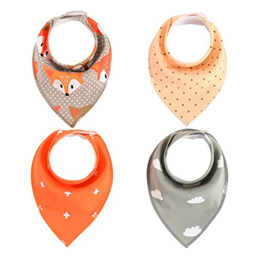 Baby bandana drool bibs. Pack of four.