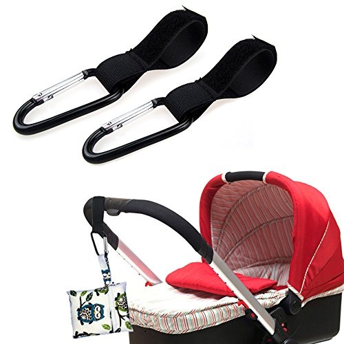Yizeda Stroller Hook 8 Packs - Put Your Shopping and Luggage Safely on The Stroller, Easy to Use, Universal(Black) by Yizeda (Image #2)