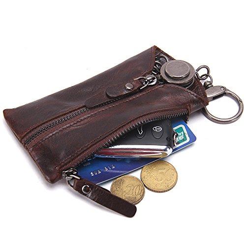 (Contacts Genuine Leather Zipper Coin Pocket Purse Car Key Case Holder Wallet Keychain Dark Brown)
